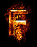f, illustration of  letter with chrome effects and red fire on b