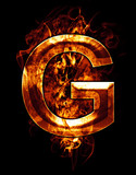 g, illustration of  letter with chrome effects and red fire on b