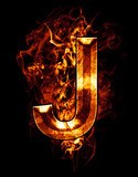 j, illustration of  letter with chrome effects and red fire on b