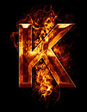 k, illustration of  letter with chrome effects and red fire on b