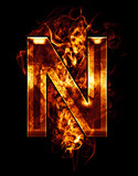 n, illustration of  letter with chrome effects and red fire on b