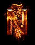 ñ, illustration of  letter with chrome effects and red fire on
