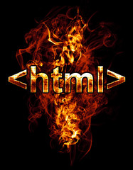 html, illustration of  number with chrome effects and red fire o