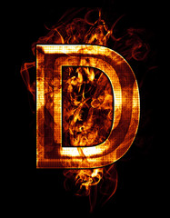 d, illustration of  letter with chrome effects and red fire on b