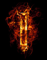 i, illustration of  letter with chrome effects and red fire on b