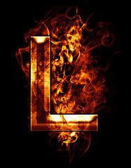 l, illustration of  letter with chrome effects and red fire on b