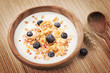 Muesli with yogurt and fresh blueberries. Healthy breakfast.