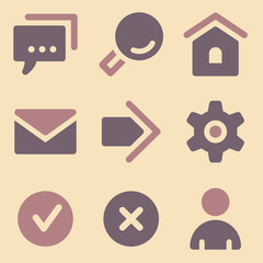 Basic web icons retro color series