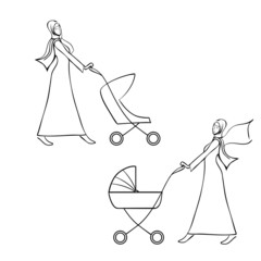 arab women in traditional muslim dress pushing a pram