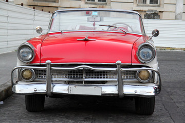 Red and white car in Havana