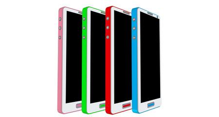 Smartphones de couleurs différentes de profil