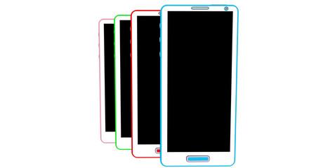 Smartphones couleurs en file