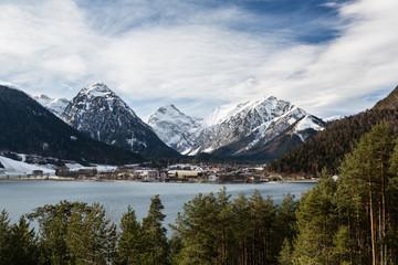 Town on a shore of a mountain lake