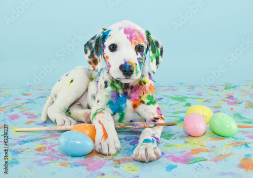 Fotobehang Hond Easter Dalmatain Puppy