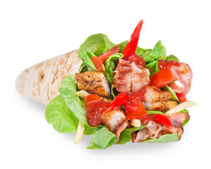 Chicken slices in a Tortilla Wrap over white