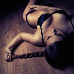 beautiful girl in black lingerie