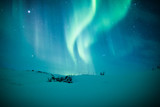Northern lights (Aurora borealis) above snow