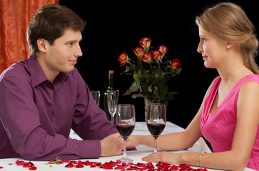 A couple on romantic dinner