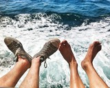 two pair of legs over the sea background