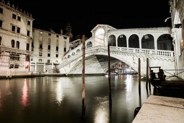 Venice grand canal, Rialto bridge night view. Italy