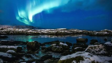 Northern lights (Aurora borealis) beach timelapse