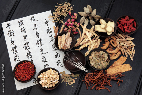 Deurstickers Assortiment Traditional Chinese Medicine