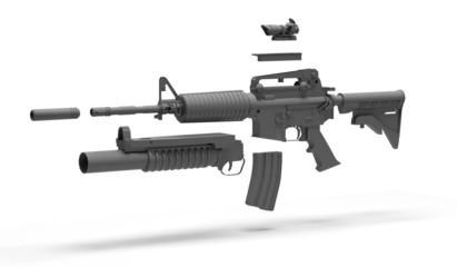 Fucile d'assalto con accessori scomposti