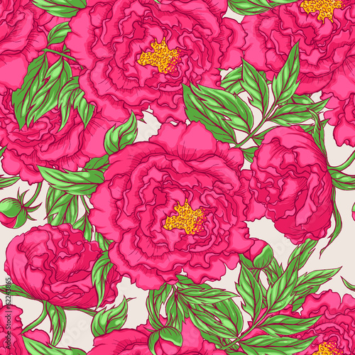 Fototapeta seamless pink peonies