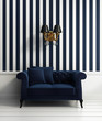 Contemporary elegant luxury hallway with blue stripes wallpaper