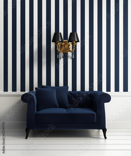 Contemporary elegant luxury hallway with blue stripes wallpaper - 62244092