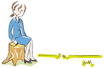 切り株に腰かけるスーツ姿の女性