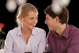 Couple with wine in restaurant