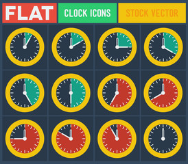 Set of vintage flat clocks