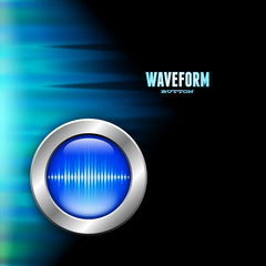 Silver button with sound wave sign and polar light