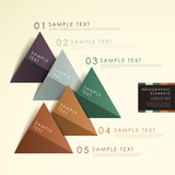 abstract origami pyramid chart infographics