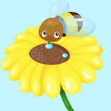 cartoon bee with sunflower