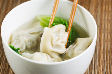 Fresh Wonton with Chopsticks