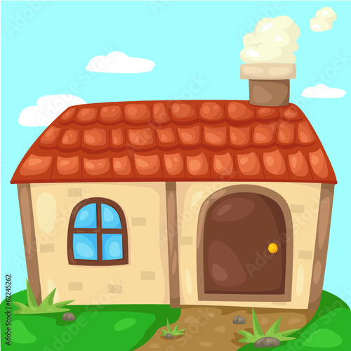 cute cottage with smoking chimney