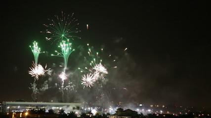 Backwards fireworks video footage