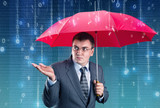 Office worker hiding under an umbrella from digital rain