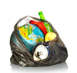 Earth and litter concept on white background