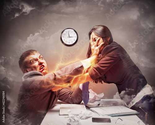 High stress fight in office