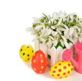 Snowdrops and Easter colored eggs