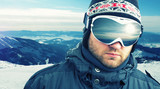 Mountain-skier weared sport goggle closeup