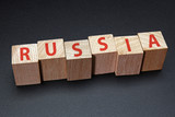 Russia word on wood blocks