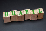 Brazil word on wood blocks