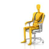 3d businessman doll is sitting on chair