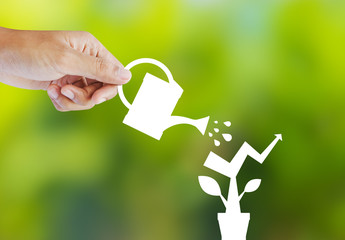 Concept of growing company with paper plant