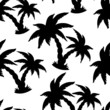Seamless Pattern with Coconut Palm Trees in black and white. End