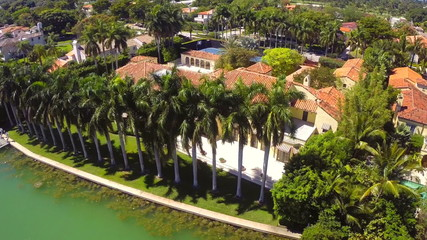 Aerial video of a luxury mansion in Miami Beach